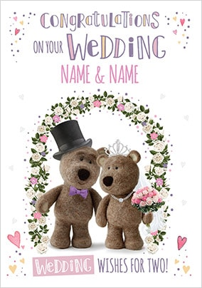Barley Bear - Wedding Day Personalised Card