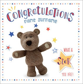 Barley Bear - Congratulations Personalised Card