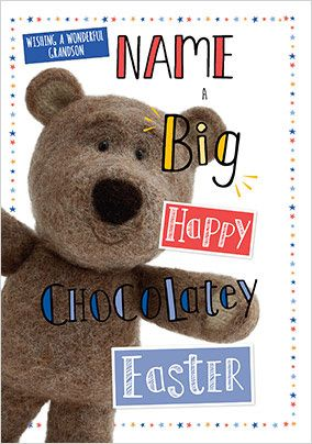 Barley Bear - Grandson Easter personalised Card