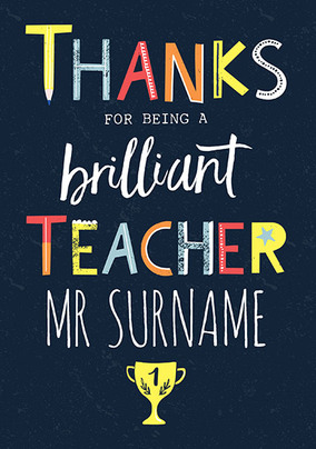 Brilliant Teacher Personalised Thank You Card