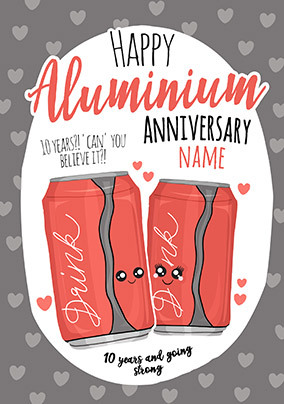 10th  Anniversary Aluminium personalised Card