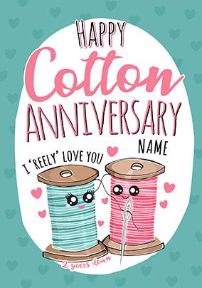 2nd Anniversary Cotton personalised Card
