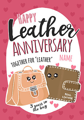 3rd Anniversary Leather personalised Card