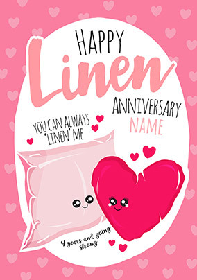 4th Anniversary Linen personalised Card