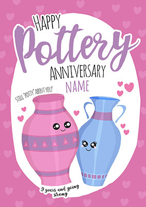 9th Anniversary Pottery personalised Card