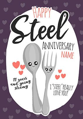 11th Anniversary Steel personalised Card