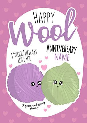 7th Anniversary Wool personalised Card