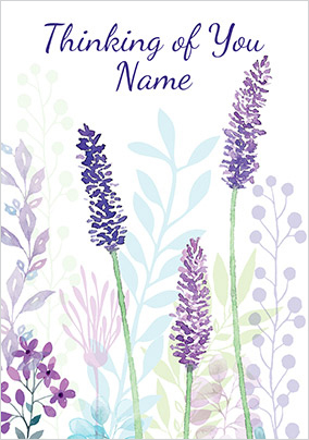 Blue Flowers Thinking of You personalised Card