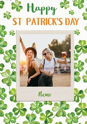 Clover St Patrick's Day Photo Personalised Card