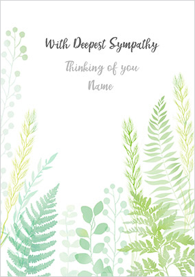Deepest Sympathy Personalised Card