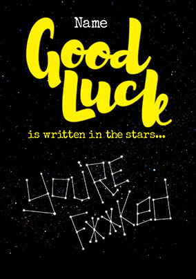 Good Luck is Written in the Stars Personalised Card