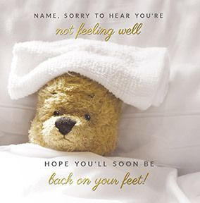 Get Well Teddy Personalised Card