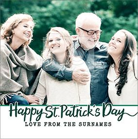 Happy St. Patrick's Day From Family Photo Card