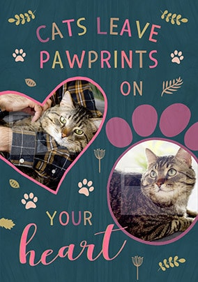 Cat Sympathy Card - Photo Upload - Paw Prints On Heart