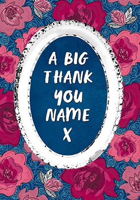 Big Roses Thank You Personalised Card