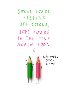 In the Pink again Get Well Soon personalised Card