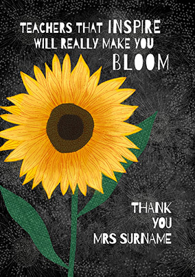 Inspire and Bloom Thank You Teacher Card