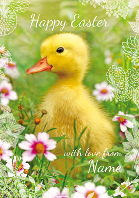 Framed - Easter Card Happy Easter Duckling