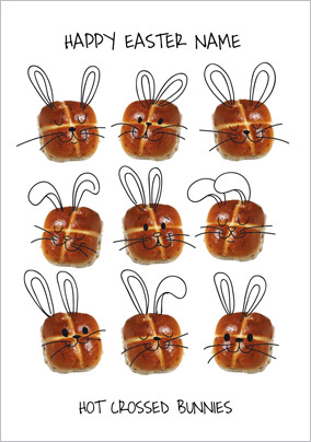 Framed - Easter Card Hot Crossed Bunnies