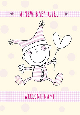 Cute Characters - New Baby Card Baby Girl