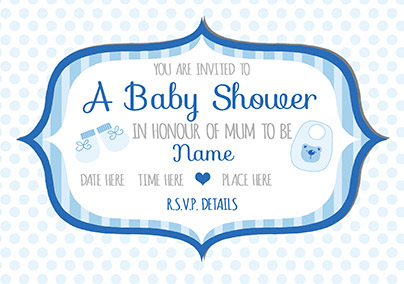 Baby Shower Invitation - Blue Dots