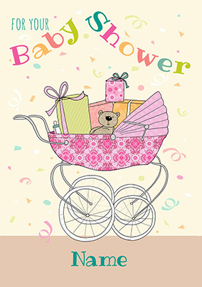 Baby Shower Card - Pram and Gifts