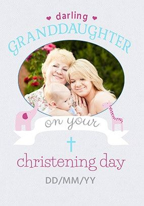 Granddaughter Christening Day Photo Card