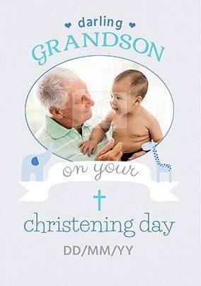 Grandson Christening Day Photo Card