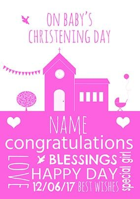 Baby Girl Christening Day Card
