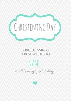 Christening Day Love And Blessings Card