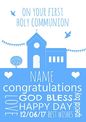 First Holy Communion Personalised Card