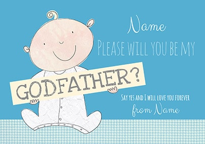 Be My Godfather Personalised Card