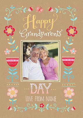 Floral Border Grandparents Day Photo Card
