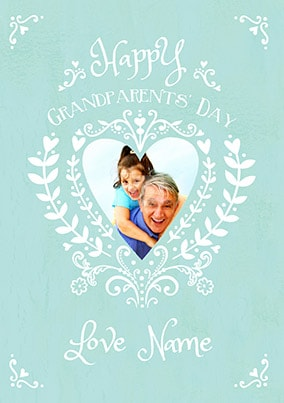 Heart and Filigree Grandparents Day Photo Card