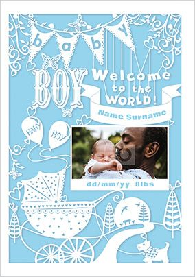 Baby Boy Welcome to the World Photo Card
