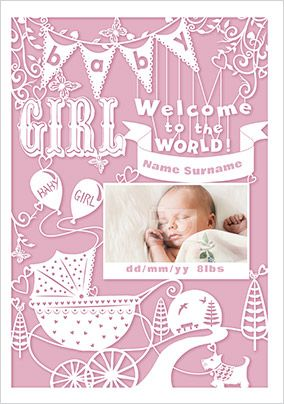 Baby Girl Welcome to the World Photo Card