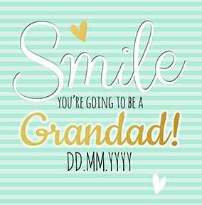 Baby Announcement Smile, Grandad to be Card