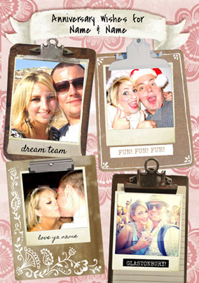 Bohemian - Anniversary Card Multi Photo Upload Clipboards