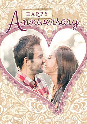 Lace Heart Photo Anniversary Personalised Card