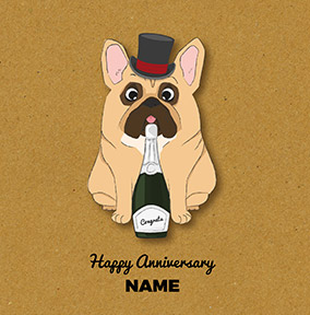 French Bulldog Personalised Anniversary Card