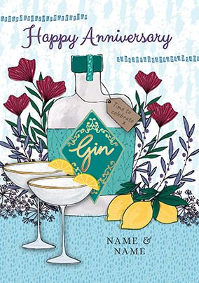 Lemons and Gin Anniversary personalised Card