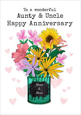 Aunty & Uncle Vase Personalised Anniversary Card