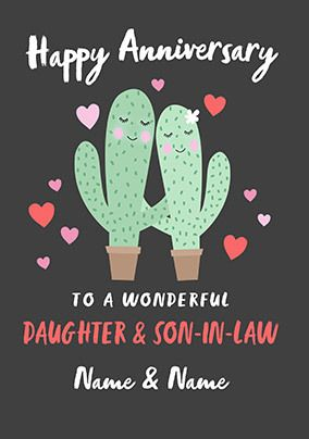 Cactus Daughter and Son-in-Law Anniversary personalised Card
