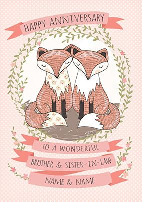 Fox Couple Brother & Sister-in-Law Anniversary personalised Card