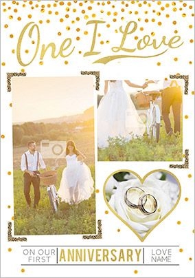 Luxe Love Affair - Anniversary Card One I Love Photo Upload
