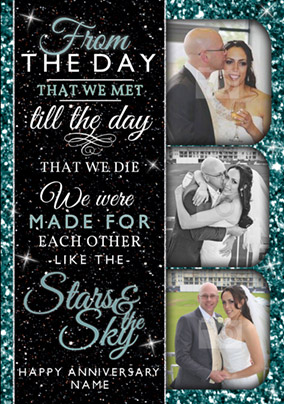 The Stars and the Sky - Anniversary Card Made for Each Other Photo Upload