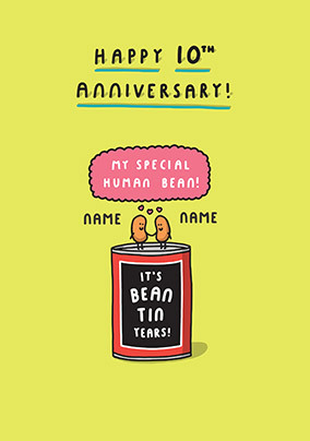 Happy 10th Anniversary Personalised Card