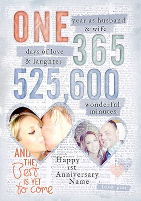 one year as husband wife photo card