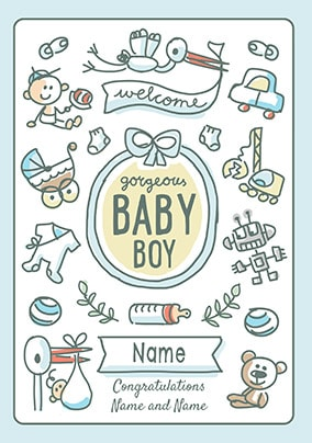 Babette - Welcome Baby Boy Personalised Card