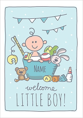 Babette - Welcome Little Boy Personalised Card
